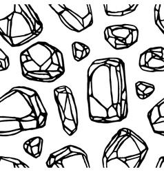 Black line stone seamless pattern white background vector