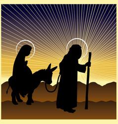 christmas nativity mary and joseph vector image