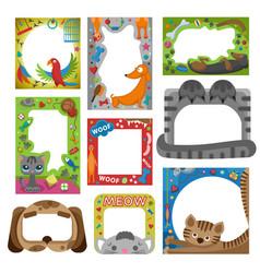 cute happy birthday pets photo frame vector image