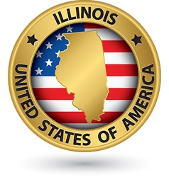 Illinois state gold label with state map vector image vector image