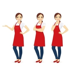 Woman in red apron vector image vector image