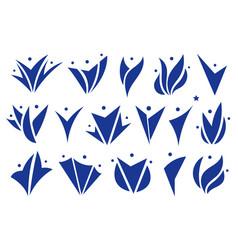 abstract happy people logo set human vector image