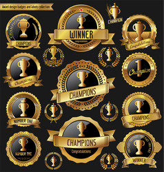 Award design golden badges and labels collection vector