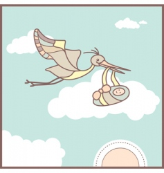 Baby card with flying stork vector