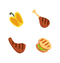 barbecue icons set grill food bbq roast steak vector image