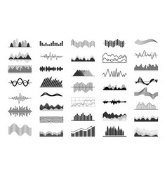 Black and white charts and sound waves indicators vector