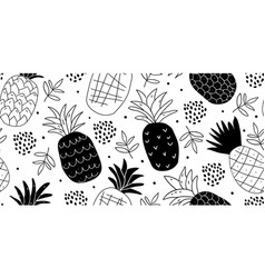 black and white minimalistic pineapples pattern vector image