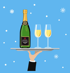 bottle of champagne and glass on tray on blue vector image