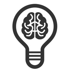 Brain bulb flat icon vector