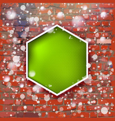 Brick wall with bright green label and fall of vector
