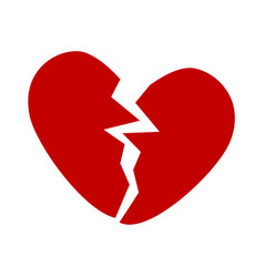 broken red heart icon minimalism vector image