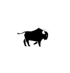 Buffalo kicking or black and big bull vector