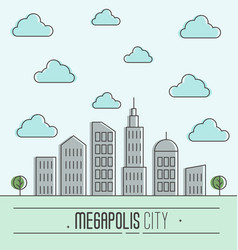 Buildings silhouette cityscape vector