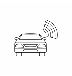 Car with wifi sign icon outline style vector
