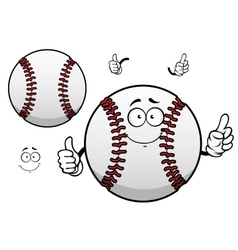 Cartoon baseball ball with thumb up vector