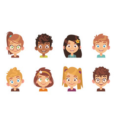 cartoon children avatars joyful preschool smiling vector image