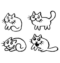 Cats emoticons set isolated vector