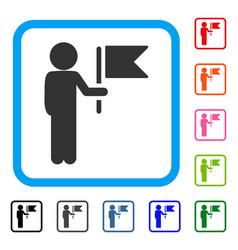 child commander framed icon vector image