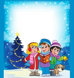 Christmas carol singers theme 4 vector