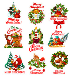 Christmas wishes greeting icons vector