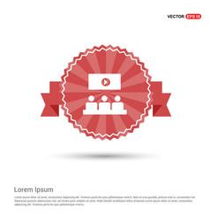 cinema movie icon - red ribbon banner vector image