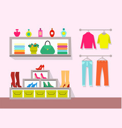 clothing store and interior vector image