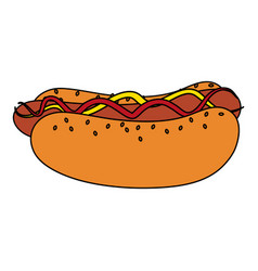 color image cartoon hot dog with mustard and vector image