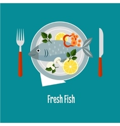 Cooked fish and raw vegetables on a plate vector