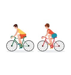 couple riding bicycles isolated on white vector image