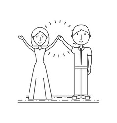 couple woman and man with the hands up vector image