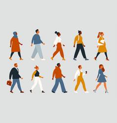 Crowd young and elderly men and women in trendy vector