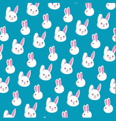 cute rabbits heads pattern background vector image