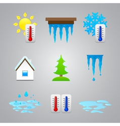 different temperature color icons vector image