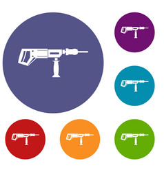 Electric drill perforator icons set vector