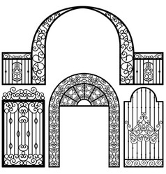 Entrance gate door fence vintage retro ancient vector