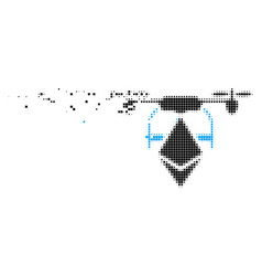 Ethereum drone disappearing pixel icon vector