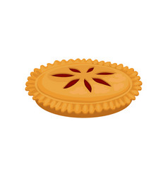 flat icon of delicious pie with strawberry vector image