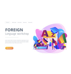 Foreign language workshop concept landing page vector