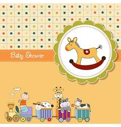Funny cartoon baby shower card vector