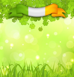 glowing nature background with shamrocks grass and vector image