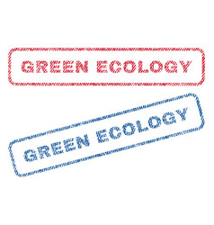 Green ecology textile stamps vector