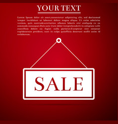 hanging sign with text sale icon on red background vector image