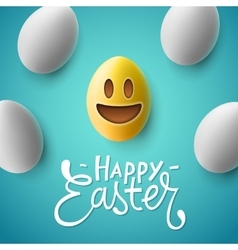 Happy Easter easter eggs with smiling emoji face vector image