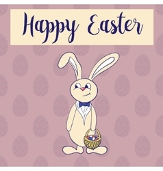 Happy easter poster rabbit boy keeps egg bascet vector image