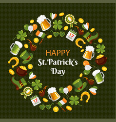 happy saint patricks day flat banner vector image
