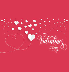 happy valentines day poster with white paper vector image