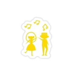 Icon sticker realistic design on paper couple vector