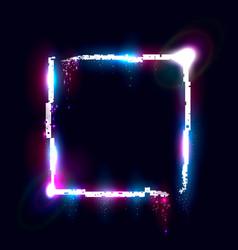 Illuminated collapsing quadrate design element vector