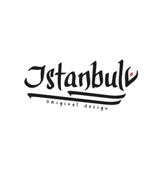 istanbul city name black ink hand written vector image