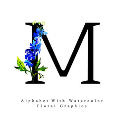 Letter m watercolor floral background vector
